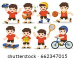 activity set of a kid  a cute... | Shutterstock .eps vector #662347015
