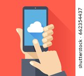 cloud icon on smartphone screen.... | Shutterstock .eps vector #662354437