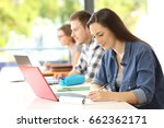 student writing notes in a...   Shutterstock . vector #662362171