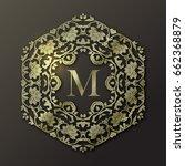 vector gold frame. monogram... | Shutterstock .eps vector #662368879