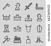 knight icons set. set of 16... | Shutterstock .eps vector #662369425