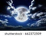 moon at night in galaxy stars... | Shutterstock . vector #662372509