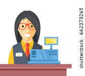 cashier woman at checkout...   Shutterstock .eps vector #662373265