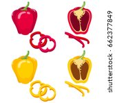 red and yellow bell pepper.... | Shutterstock .eps vector #662377849