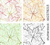 set seamless patterns  maple... | Shutterstock . vector #662378215