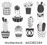 cactus potted plants collections | Shutterstock .eps vector #662382184