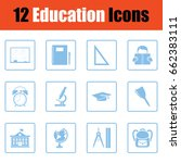 education icon set. blue frame...