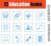 education icon set. blue frame...