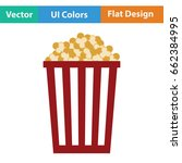 cinema popcorn icon. flat color ...