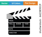 movie clap board icon. flat...