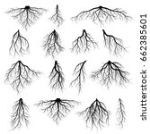 set of tree roots. silhouette... | Shutterstock .eps vector #662385601