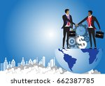 business man handshake  on the... | Shutterstock .eps vector #662387785