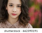 brunette teenage girl wavy hair.... | Shutterstock . vector #662390191