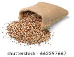 Stock photo raw quinoa in the sack isolated on white background large depth of field taken with tilt shift 662397667
