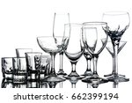 collage of empty glasses on... | Shutterstock . vector #662399194