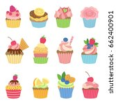 vanilla muffins and cupcakes... | Shutterstock .eps vector #662400901