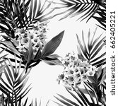 tropical plants seamless... | Shutterstock . vector #662405221
