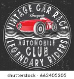 vintage race car for printing... | Shutterstock .eps vector #662405305