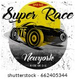 vintage race car for printing... | Shutterstock .eps vector #662405344
