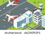airport  controls buildings of... | Shutterstock .eps vector #662409391