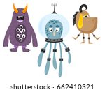 funny cartoon monster cute... | Shutterstock .eps vector #662410321