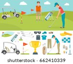 vector set of stylized golf... | Shutterstock .eps vector #662410339