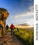 mountain biking women and man... | Shutterstock . vector #662413777