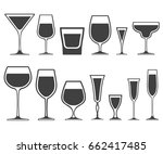 set of wineglass and glass... | Shutterstock . vector #662417485