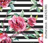 roses seamless pattern.... | Shutterstock . vector #662421481