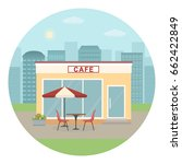 cafe building on city... | Shutterstock .eps vector #662422849