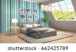 bedroom interior. 3d... | Shutterstock . vector #662425789