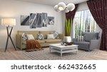 interior living room. 3d... | Shutterstock . vector #662432665
