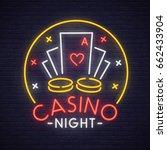 casino neon sign  bright... | Shutterstock .eps vector #662433904