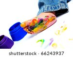 painted foot a little boy | Shutterstock . vector #66243937