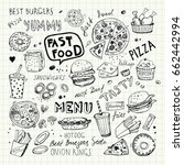 fast food doodles. hand drawn... | Shutterstock .eps vector #662442994