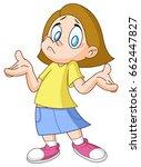 young girl shrugging shoulders... | Shutterstock .eps vector #662447827