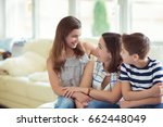 portrait of pretty young mother ... | Shutterstock . vector #662448049