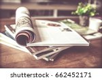 selective focus of the stacking ... | Shutterstock . vector #662452171