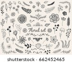 set of hand drawn vector nature ... | Shutterstock .eps vector #662452465