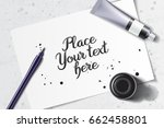 calligraphy mockup with brush... | Shutterstock .eps vector #662458801