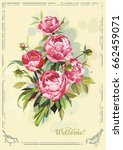 floral greeting card or... | Shutterstock .eps vector #662459071