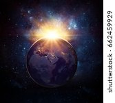 Small photo of Earth, sun and galaxy. Elements of this image furnished by NASA.