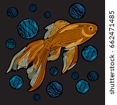 goldfish with bubbles.... | Shutterstock .eps vector #662471485