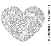 line art vector hand drawn set... | Shutterstock .eps vector #662485441