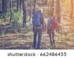 hiking couple backpacker in the ... | Shutterstock . vector #662486455