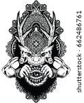 skull horns tattoo bone art | Shutterstock .eps vector #662486761