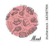 vector background with meat... | Shutterstock .eps vector #662487904