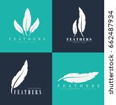 design of logos with feathers.... | Shutterstock .eps vector #662487934