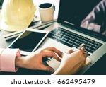engineer contractor working on... | Shutterstock . vector #662495479
