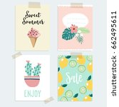 set of hand drawn summer... | Shutterstock .eps vector #662495611